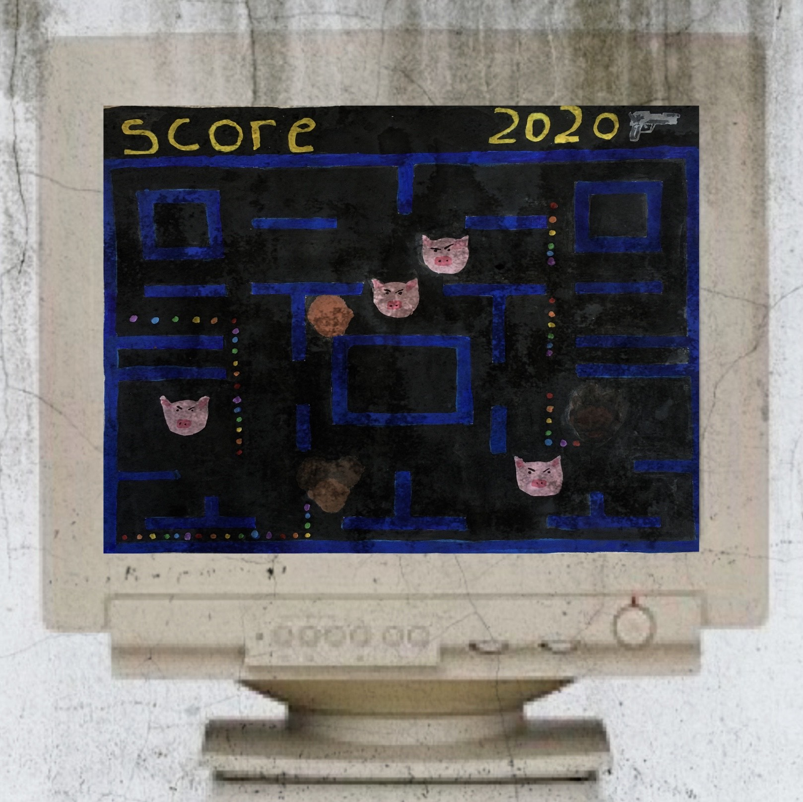 A digital illustration of an old dirty computer screen with a pac man style game on the screen.