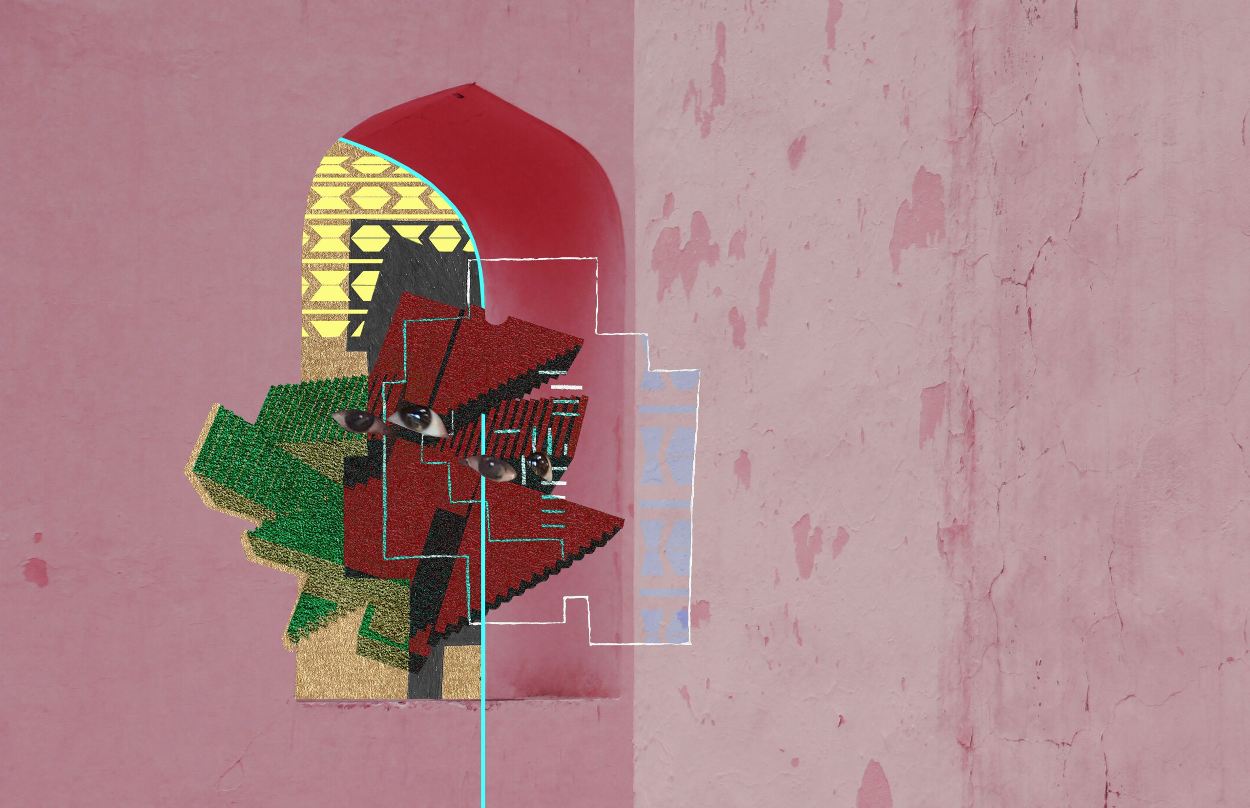 "An abstract, geometric representation of a human face in red, green and gold, consisting of collaged elements and textures in shades of pink. Artists description: ""The idea behind it is to ask the viewer to deconstruct, enquire, and reconstruct what is being offered, especially since 'Utopia' as a topic can be a very subjective concept."""